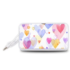 Watercolor cute hearts background Portable Speaker (White)