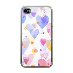 Watercolor cute hearts background Apple iPhone 4 Case (Clear)