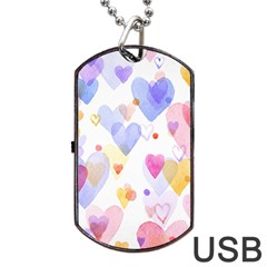 Watercolor cute hearts background Dog Tag USB Flash (Two Sides)