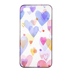 Watercolor cute hearts background Apple iPhone 4/4s Seamless Case (Black)