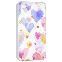 Watercolor cute hearts background Apple iPhone 4/4s Seamless Case (White)
