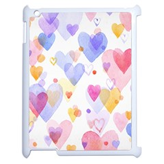 Watercolor cute hearts background Apple iPad 2 Case (White)