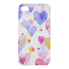 Watercolor cute hearts background Apple iPhone 4/4S Hardshell Case