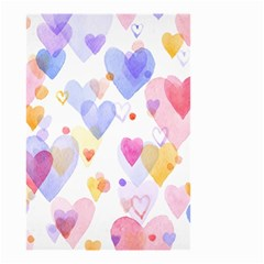 Watercolor cute hearts background Small Garden Flag (Two Sides)
