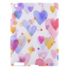 Watercolor cute hearts background Apple iPad 3/4 Hardshell Case