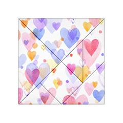 Watercolor cute hearts background Acrylic Tangram Puzzle (4  x 4 )