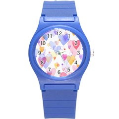 Watercolor cute hearts background Round Plastic Sport Watch (S)