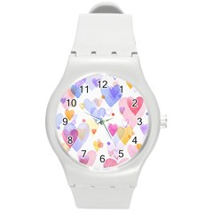 Watercolor cute hearts background Round Plastic Sport Watch (M)