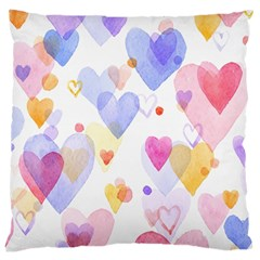 Watercolor cute hearts background Large Cushion Case (One Side)