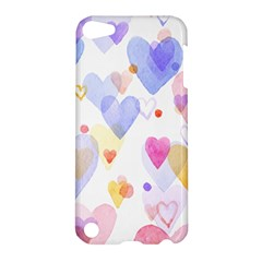 Watercolor cute hearts background Apple iPod Touch 5 Hardshell Case