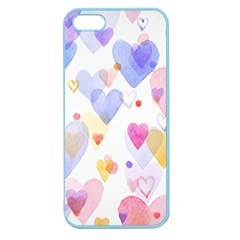 Watercolor cute hearts background Apple Seamless iPhone 5 Case (Color)