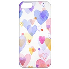 Watercolor cute hearts background Apple iPhone 5 Classic Hardshell Case