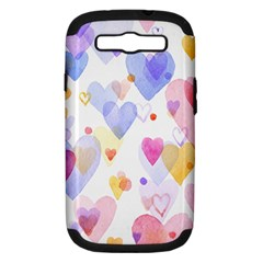 Watercolor cute hearts background Samsung Galaxy S III Hardshell Case (PC+Silicone)