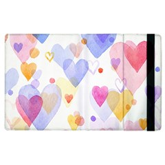 Watercolor cute hearts background Apple iPad 3/4 Flip Case