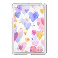 Watercolor cute hearts background Apple iPad Mini Case (White)