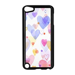Watercolor cute hearts background Apple iPod Touch 5 Case (Black)