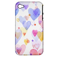 Watercolor cute hearts background Apple iPhone 4/4S Hardshell Case (PC+Silicone)