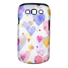 Watercolor cute hearts background Samsung Galaxy S III Classic Hardshell Case (PC+Silicone)