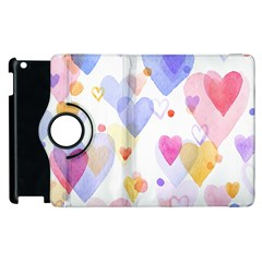 Watercolor cute hearts background Apple iPad 2 Flip 360 Case