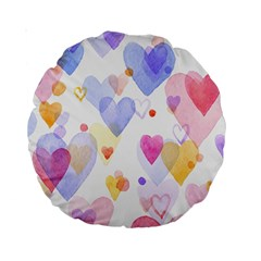 Watercolor cute hearts background Standard 15  Premium Round Cushions