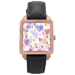 Watercolor cute hearts background Rose Gold Leather Watch