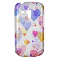 Watercolor cute hearts background Galaxy S3 Mini