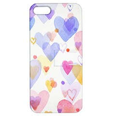 Watercolor cute hearts background Apple iPhone 5 Hardshell Case with Stand