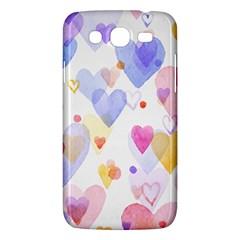 Watercolor cute hearts background Samsung Galaxy Mega 5.8 I9152 Hardshell Case