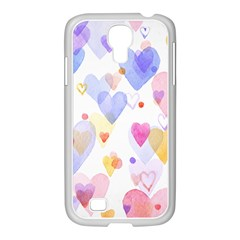 Watercolor cute hearts background Samsung GALAXY S4 I9500/ I9505 Case (White)