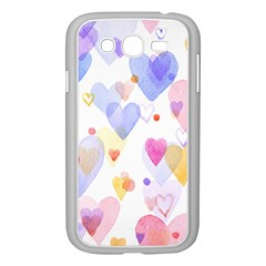 Watercolor cute hearts background Samsung Galaxy Grand DUOS I9082 Case (White)