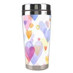 Watercolor cute hearts background Stainless Steel Travel Tumblers