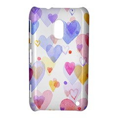 Watercolor cute hearts background Nokia Lumia 620