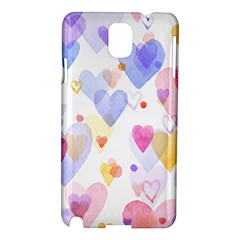 Watercolor cute hearts background Samsung Galaxy Note 3 N9005 Hardshell Case