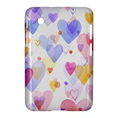 Watercolor cute hearts background Samsung Galaxy Tab 2 (7 ) P3100 Hardshell Case