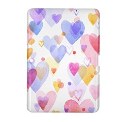 Watercolor cute hearts background Samsung Galaxy Tab 2 (10.1 ) P5100 Hardshell Case