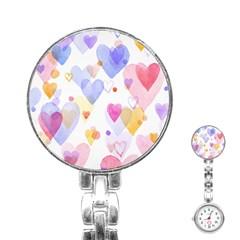 Watercolor cute hearts background Stainless Steel Nurses Watch
