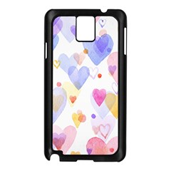 Watercolor Cute Hearts Background Samsung Galaxy Note 3 N9005 Case (black)