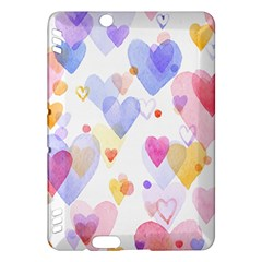 Watercolor cute hearts background Kindle Fire HDX Hardshell Case