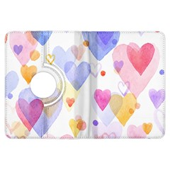 Watercolor cute hearts background Kindle Fire HDX Flip 360 Case