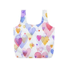 Watercolor cute hearts background Full Print Recycle Bags (S)
