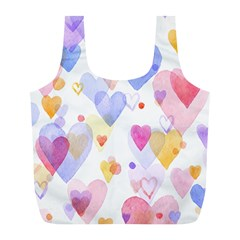 Watercolor cute hearts background Full Print Recycle Bags (L)