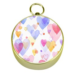 Watercolor cute hearts background Gold Compasses