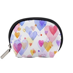 Watercolor cute hearts background Accessory Pouches (Small)