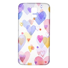 Watercolor cute hearts background Samsung Galaxy S5 Back Case (White)