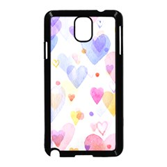 Watercolor cute hearts background Samsung Galaxy Note 3 Neo Hardshell Case (Black)