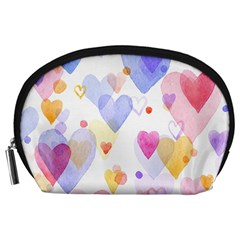 Watercolor cute hearts background Accessory Pouches (Large)