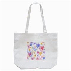 Watercolor cute hearts background Tote Bag (White)