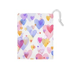 Watercolor cute hearts background Drawstring Pouches (Medium)