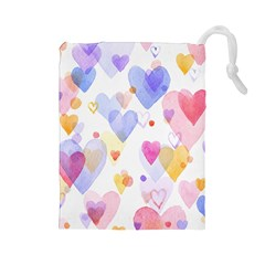 Watercolor cute hearts background Drawstring Pouches (Large)