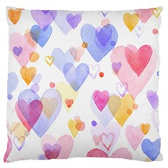 Watercolor cute hearts background Large Flano Cushion Case (Two Sides)